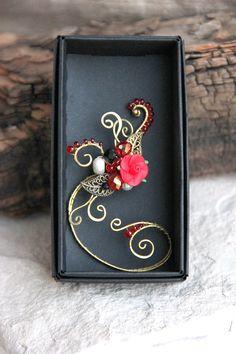 Steampunk manchette doreille rouge doreille Rose rouge