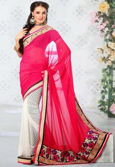 Buy Diffusion Magnificient Fuchsia And Off White Chiffon Saree online at Saragna.com.Shop online for saree for women at lowest price in India. Free Shipping, Cash on Delivery, http://www.saragna.com/saree/Diffusion-Magnificient-Fuchsia-And-Off-White-Chiffon-Saree-1577.html