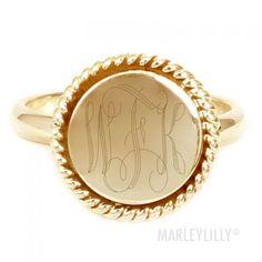 Monogrammed 14K Gold Vermeil Lana Ring Size 7 with Interlocking script initials
