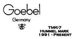 The Hummel Mark (TMK-7)  1991-Present    In 1991 Goebel made a move of historical import.  They changed the trademark once again.  This time the change was not only symbolic of the reunification of the two Germanies by removal of the West from the mark, but very significant in another way.  Until then they used the same trademark on virtually all of their products.  The mark illustrated here is for exclusive use on Goebel products made from the paintings and drawings of M.I. Hummel.
