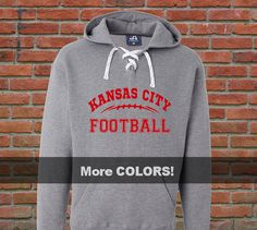 We love our #KCChiefs football in Kansas City! This heavyweight lace-up hoodie sweatshirt will keep you super warm while youre tailgating and watching the game. Available in 3 hoodie colors and over 20 design colors including glitter!