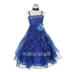 Midnight Wave Sparkling Royal Blue Flower Girl Dress