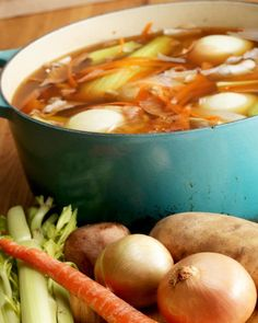 How To Make Veggie Stock From Kitchen Scraps - Soups and Stews - Whole Food Recipes, Soup Recipes, Vegetarian Recipes, Cooking Recipes, Healthy Recipes, Veggie Stock, Soup And Salad, Soups And Stews, Food Hacks
