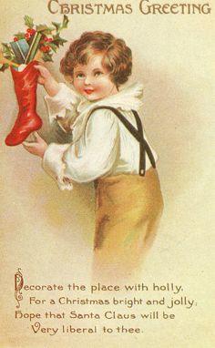 Vintage Victorian Christmas Post Card American by VintagenutsInc, $5.50