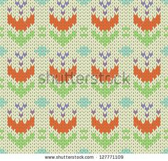 Seamless knit pattern with flowers