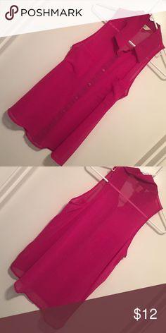 Never worn hot pink sheer sleeveless button up Never worn hot pink sheer sleeveless button up Tops Blouses