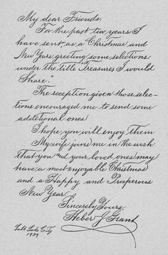 The Lost Art of cursive writing: Heber J Grants handwriting. This would be a great guide to improving my own cursive. Improve Your Handwriting, Handwriting Styles, Handwriting Analysis, Beautiful Handwriting, Calligraphy Handwriting, Handwriting Practice, Calligraphy Alphabet, Penmanship, Caligraphy