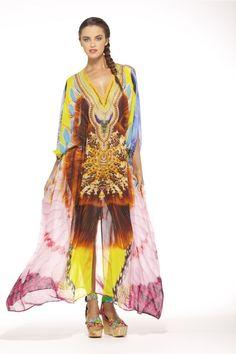 New Camilla Franks Silk Swarovski Burning Man Belted Kaftan w Arm Detail OSFM | eBay