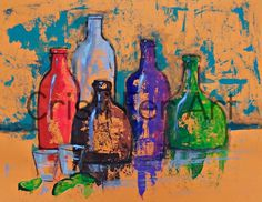 Still Life with tequila bottles impressionistic art original painting acrylic on paper poster size