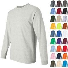 Gildan Ultra Cotton Mens Crewneck Long Sleeve T Shirt 2400 | eBay