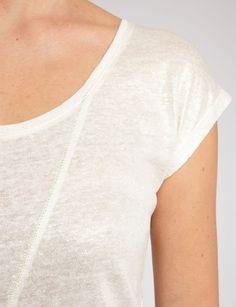 T-shirt coupe droite<br/>Col arrondi<br/>Manches courtes<br/>Maille fine coloris uni<br/>Couture<br/>LinCRLF Nom : 161-DANIS.N