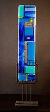 "Windows Blue by Vicky Kokolski and Meg Branzetti (Art Glass Sculpture) (30"" x 7"")"