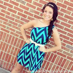 Off-Shoulder Navy and Turquoise Chevron Print Dress $46.99!