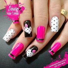 Pink Nail Art, New Nail Art, Purple Nails, Valentine's Day Nail Designs, Nail Polish Designs, Acrylic Nails Coffin Short, Cute Acrylic Nails, Valentine Nail Art, Cat Nails