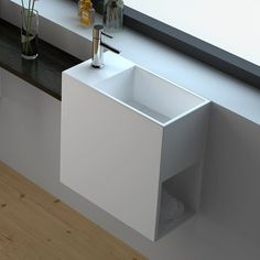 Lave-mains suspendu gauche - Palma en Solid surface - G Small Bathroom Sinks, Bathroom Basin, Bathroom Toilets, Guest Toilet, Downstairs Toilet, Solid Surface, Wet Rooms, Powder Room, House Styles