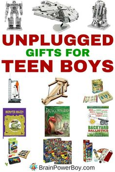 Looking for a cool non-electronic gift for a teen? Try these amazing unplugged gifts for teen boys! See boy-approved gift choices that they are going to love. All of these have a learning twist and they are all under 20 bucks too. Teen Boy Christmas Gifts, Gifts For Teen Boys, Birthday Gifts For Teens, Christmas Ideas, Best Gifts For Teens, Teenage Boy Birthday, Unique Gifts For Boys, Simple Gifts, Simple Christmas