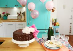 Pink and Gold Balloons. Chocolate ombre cake with Peonies.