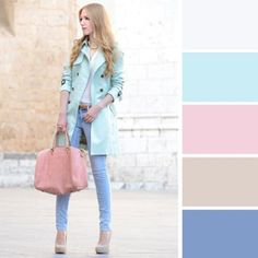 Awesome 36 Pastel Color Outfit Ideas To Make You Looks Calm On Spring 2018 Colour Combinations Fashion, Color Combinations For Clothes, Fashion Colours, Colorful Fashion, Color Combos, Color Schemes, Look Fashion, Fashion Outfits, Womens Fashion