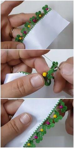 Beaded Needlework Models, Crochet Lace and Needle Lace - DIY Blumen Diy Crochet Stitches, Crochet Edging Patterns, Crochet Lace Edging, Crochet Motifs, Crochet Borders, Crochet Videos, Crochet Designs, Crochet Flowers, Needle Lace