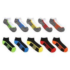Boys' Athletic Stripe 10-Pack Lightweight Low Cut Socks Multicolored - Circo™
