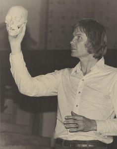 "Actor Jon Voight (with the skull of poor Yorick) in rehearsal for a California State University, Northridge (CSUN) Theater Department production of ""Hamlet"" in 1976. CSUN University Digital Archives."