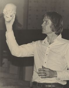 "Actor Jon Voight (with the skull of poor Yorick) in rehearsal for a California State University, Northridge (CSUN) Theater Department production of ""Hamlet"" in 1976. CSUN University Digital Archives."