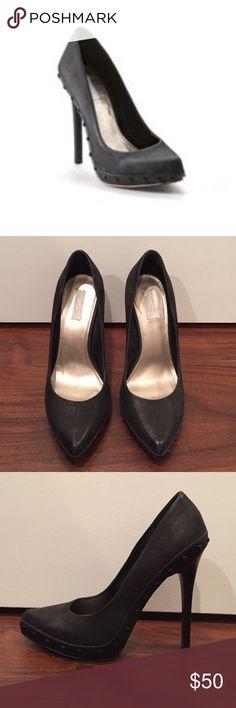 Rachel Roy Carlah Black Genuine Leather Pumps 7 Worn once. No damage. Like new. Metallic foot bed. RACHEL Rachel Roy Shoes Heels