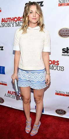Last Night's Look: Love It or Leave It? | KALEY CUOCO-SWEETING | Somebody's ready for spring! Kaley hits the red carpet in a lace top, zigzag hem shorts from Tory Burch and strappy stilettos from Chelsea Paris at the premiere of Authors Anonymous in L.A.