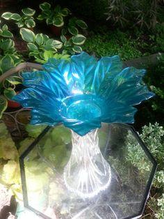 Glass Birdbath 'Crystal Blue Flower' by GardenArtistGa on Etsy, $45.00