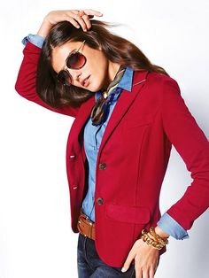 Amazing Outfit Combination For Red Blazer With Jeans 16 Mode Outfits, Fall Outfits, Casual Outfits, Fashion Outfits, Fashion Ideas, Women's Red Outfits, Fashion Trends, Look Blazer, Blazer With Jeans