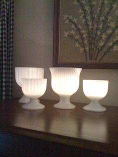 milk glass and candlelight I've done this with milk glass and it does look amazing.......