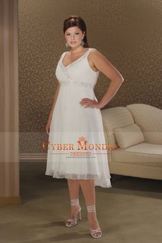 Plus Size V Neck Empire Waist Bridal Dresses With Beading/Sequins Chiffon