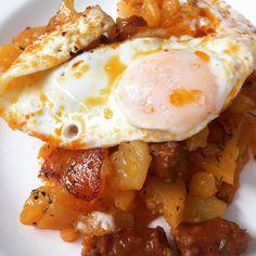 Huevo a la plancha con patatas y chistorra en #FC7Smart #FussionCook