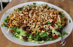 Comfort Food, Cobb Salad, Vegetables, Drinks, Inspiration, Lettuce Recipes, Roasted Garbanzo Beans, Food Items, Food Food