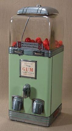 "Northwestern Deluxe. Northwestern Corporation, Morris, IL, c. 1936, 17 1/2"" with the short globe. Gum. Vending machine. Small Vintage Vending"