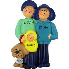 Family and Dog, 3 people Personalized Ornament. This ornament and many more can be found at www.ornaments.com