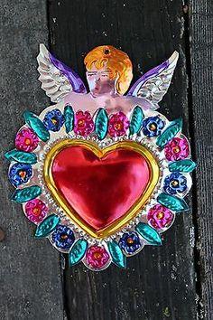 Mexicano Tin Milagros alado Cupido Love Token Ornamento Arte Popular Oaxaca México
