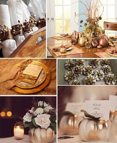 fall weddings decorations - the white and gold mini pumpkins!