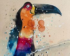 Toucan • watercolour painting • A4 • 8.3 x 11.7 inches • original painting
