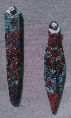 "Tanya Tyree ""Gifts of Love"" Raku fired wall sculptures"
