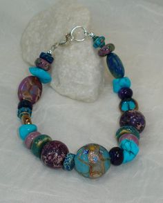BOHO CHUNKY BRACELET Purple and Blue Multi by JanetMarieJewelry, $40.00