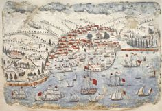 Σπάραγμα τοιχογραφίας με την πολιορκία του Χάνδακα. Νωπογραφία. Τέλη 18ου αι.