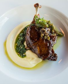 Recipe: Lacquered Duck Confit with Cracked Green Olive - Chef Fest Gourmet Food Plating, Gourmet Cooking, Wine Recipes, Gourmet Recipes, Cooking Recipes, Gourmet Foods, Cooking Tips, Slow Cooker Bone Broth, Chicken Plating