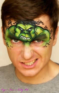 The Incredible Hulk comic inspired face painting tutorial design, that boys will adore! Learn how to face paint it fast and easy using one stroke technique. Hulk makeup for kids on my Youtube Channel: International Face Painting School