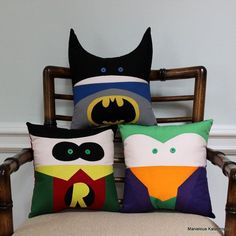 These 10 inch by 10 inch pillows are the perfect size for snuggling or for decorating a superhero themed room. They are made from cotton
