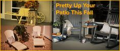 From rockers to wheelbarrows, discover furniture pieces from DutchCrafters and get fall decor tips that will help pretty up your patio this fall. http://www.dutchcrafters.com/blog/pretty-patio-fall/?utm_campaign=coschedule&utm_source=pinterest&utm_medium=DutchCrafters%20Amish%20Furniture&utm_content=Pretty%20Up%20Your%20Patio%20This%20Fall