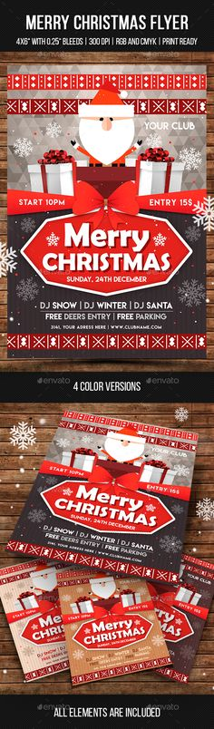 """Merry Christmas Flyer - Clubs & Parties Events Features: 2 PSD files Size: 4х6"""" with 0.25"""" bleed Print ready (CMYK, 300 DPI) RGB version for web 4 color styles Smart objects Fully editable and organized layers FREE fonts used All elements are included"""