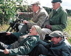 Episode 160: A Sidecar Named Desire - Smiler, Foggy, Compo and Clegg, just before they slammed into the stone wall.