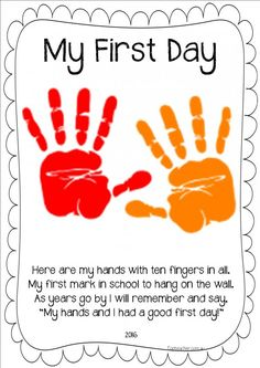 A great first day activity. Record stduents handprint to send home for parents to remeber their first day of school for that year.