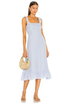 One of the best parts about this soft midi is that it's not dry-clean only! Have fun with a bold pair of earrings and a pretty purse with this soft blue number. #weddingguestdress #weddingguestoutfit #rehearsaldinnerdress #dressestoweartoawedding #southernliving Buy Dress, Dress Up, Halter Neck Maxi Dress, Rehearsal Dinner Dresses, Dress With Sneakers, Mini Dress With Sleeves, Flare Dress, Casual Dresses, Coast Style